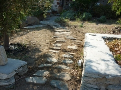 hand made path to the morning veranda